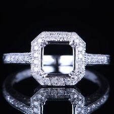 STERLING SILVER DIAMONDS 7X7MM CUSHION CUT SEMI MOUNT WEDDING FINE RING SETTING