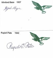 1942 Rupert Pate Philadelphia Eagles Football Signed Index Card Wake Forest