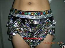 Coloured SILVER Coins &Bead Belly Dance Hip Scarf Belt Costume