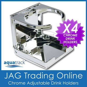 4 x CHROME PLASTIC ADJUSTABLE FOLDING DRINK HOLDERS - Boat/Marine/Caravan/Car/RV