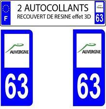 2 stickers autocollants plaques immatriculation auto Départe 63 DOMING 3D RESINE