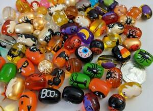 Halloween Beads Mix Ghost Pumpkin Spider Candy Painted Glass DIY Jewelry 20 pcs