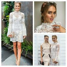 WHITE SUEDE White Lace Long Bell Sleeve Races Wedding Cocktail Dress AU8 $480