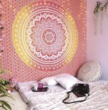 Mellow Yellow Orange Ombre Mandala Indisch Boho Überwurf Wandbehang Baumwolle