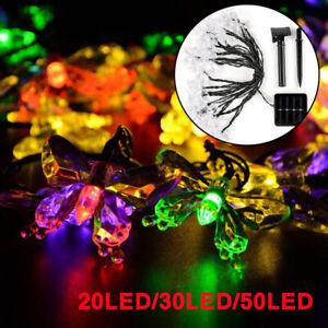 20/30/50 LED Solar Power Butterfly Fairy String Lights Outdoor Garden Lamp UK