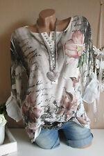 Italy Tunika Blumen Print Blogger Feinstrick Shirt Batik Creme Vintage 36-38-40