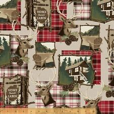 Lodge Fabric - Home Sweet Cabin Collage Patch Beige Red - Windham YARD