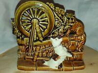 Vintage MCM McCoy Art Pottery Planter Cat & Dog Spinning Wheel Brown Green