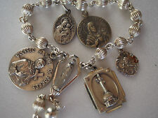 6 Antique Sterling Silver Jesus Virgin Mary Martin de Porres Medals Charms 27g