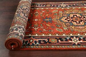 Geometric Rust 6 ft Runner Heriz Oriental Hand-knotted Wool Rug 6' 0'' X 2' 6''