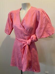 FAITHFULL THE BRAND Godiva Pink Mini Wrap Dress Size 2/XS Puff Sleeve Aline