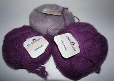"""3 Skeins, Pingouin, """"Orage"""", Pale Lavender & Purple, Acrylic/Mohair/Wool Yarn"""