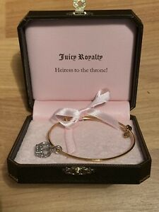 Juicy Couture Gold/Silver Bangle Charm Queen Crown Bracelet