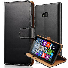 Luxury REAL LEATHER WALLET STAND CASE FOR Microsoft NOKIA LUMIA 650 UK SELLER