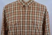 Polo Ralph Lauren XXL Brown Peach Plaid Pearl Snap Western Casual Shirt 2XL