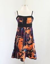 Guess by Marciano Orange Purple Black Abstract Watercolor Flounce Silk Dress S