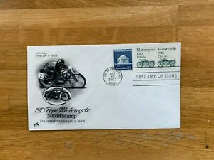 USA US 1983 FDC ART CRAFT TRANSPORTATION COIL STAMP 5 CENT POPE MOTORCYCLE
