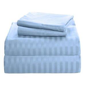 Duvet Set + Fitted Sheet Blue / Light Blue Stripe All Sizes 1000 TC Egypt Cotton