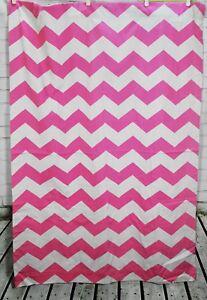 "Pottery Barn Kids Blackout Curtains Pink Chevron White Stripe -44 X 63"" Panel"