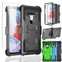 For LG Stylo 6 Armor Belt Clip Kickstand Case +Full Body Screen Protector Cover