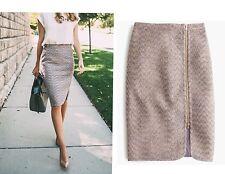NWT $148 J Crew Front Zip Pencil Skirt Sparkle Tweed Plum Gold Sz 2