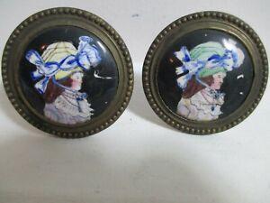 Antique Battersea Enamel Porcelain Lady's Portrait Tieback Drawer Pulls