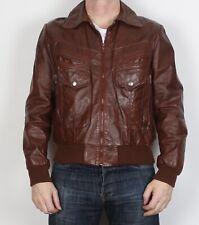 """Leather Bomber Jacket Coat Medium Large 42"""" Brown 80's 1980's (6C3I)"""