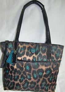 Coach Green Black Ocelot Leopard Tote Shoulder Bag Purse Crack in Straps