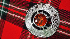 TC Kilt Fly Plaid Broche Celta Marrón Piedra Acabado En Plata/Nudo Celta