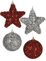 Set of 4 Glitter Christmas Tree Bauble Red Silver Sparkle Star Xmas Decoration