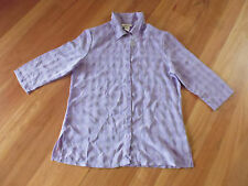 LADIES SHEER PURPLE 3/4 SLEEVE BUTTON DOWN POLYESTER SHIRT BY MILLERS- SIZE 10