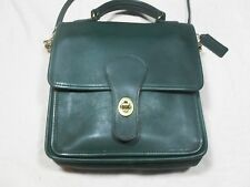 Rare Vintage 1992 ~ COACH Leather Cross Body Purse ~ Hunter Green ~ Registered