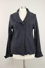 Willi Smith Gray Wool Cross Stitch Pattern Cardigan Sweater Pockets Size L