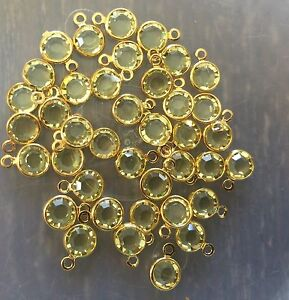Vintage Gold Plate Swar Crystal Light Yellow Crystal Round Charm Drops Findings