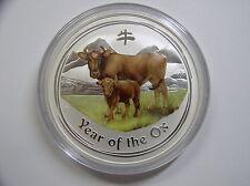 """Australien , 8 Dollar 2009 ST, Lunar II  """" Jahr des Ochsen """", Silber mit Farbe"""