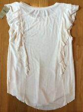 NWT American Eagle Cap Sleeve Off-White Top Shirt Ruffle Sides Size XS