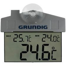 Grundig Wetterstation Thermometer Uhr Temperatur Außen Digital Saugnapf Fenster