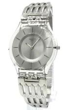 New Swiss Swatch Skin Furious Stainless Steel Bracelet Watch 35mm SFK396G $120