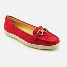 """SIZE 10 (USA9.5) RED SUEDE SNAKE PRINT LOAFERS """"LUXE"""" by CIRCA JOAN & DAVID- NEW"""