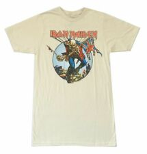 Iron Maiden Trooper Circle Ed Ivory Light Tan T Shirt New Official Merch Soft