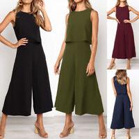 Women Summer Work Overalls Playsuit Sleeveless Zipper Jumpsuit Long Pants Casual