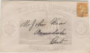 Canada 35a 1c orange (1874) GUELPH, ONT. to Armadale, Ont. Illustrated W. Bell