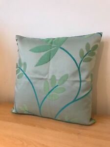SHIMMERING TURQUOISE CONTEMPORARY FLORAL PRINT FABRIC CUSHION COVER