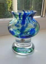 Bjorn Ramel - Sea Glasbruk (Kosta) Art Glass Vase. Candle Holder - Blue & Green