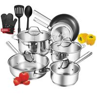 Nonstick Kitchen Cookware Set 12-Piece Pots Pans Cooking Home Stainless Steel