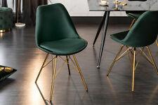 Dining Chair Dark Green Velvet Gold Metal Kitchen Upholstered Retro