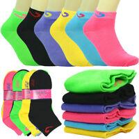 6-12 Pairs Fashion Cotton Women Girls Plain School Casual Socks Size 9-11 check