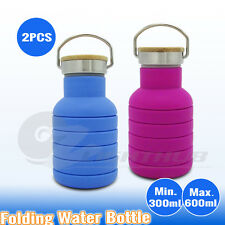 2x Collapsible Office Water Bottle Outback Camping Sport Hiking Yoga Gym Kettle