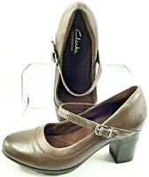 Clarks Bendables Mary Jane Pump Women's Sz 7.5 M Brown Leather Buckle Heel Shoes