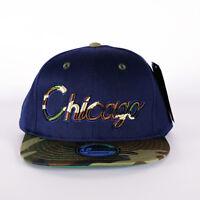 NEW CHICAGO NAVY AND CAMO BLING HIP HOP FLAT PEAK BASEBALL CAP, SNAPBACK HAT